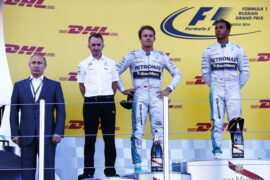 2014 Russian GP podium with (L-R) Vladimir Putin, Paddy Lowe, Nico Rosberg and Lewis Hamilton