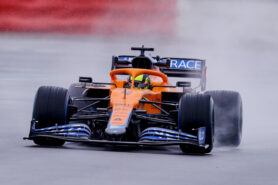 Onboard of Norris driving the new McLaren MCL35M on Silverstone