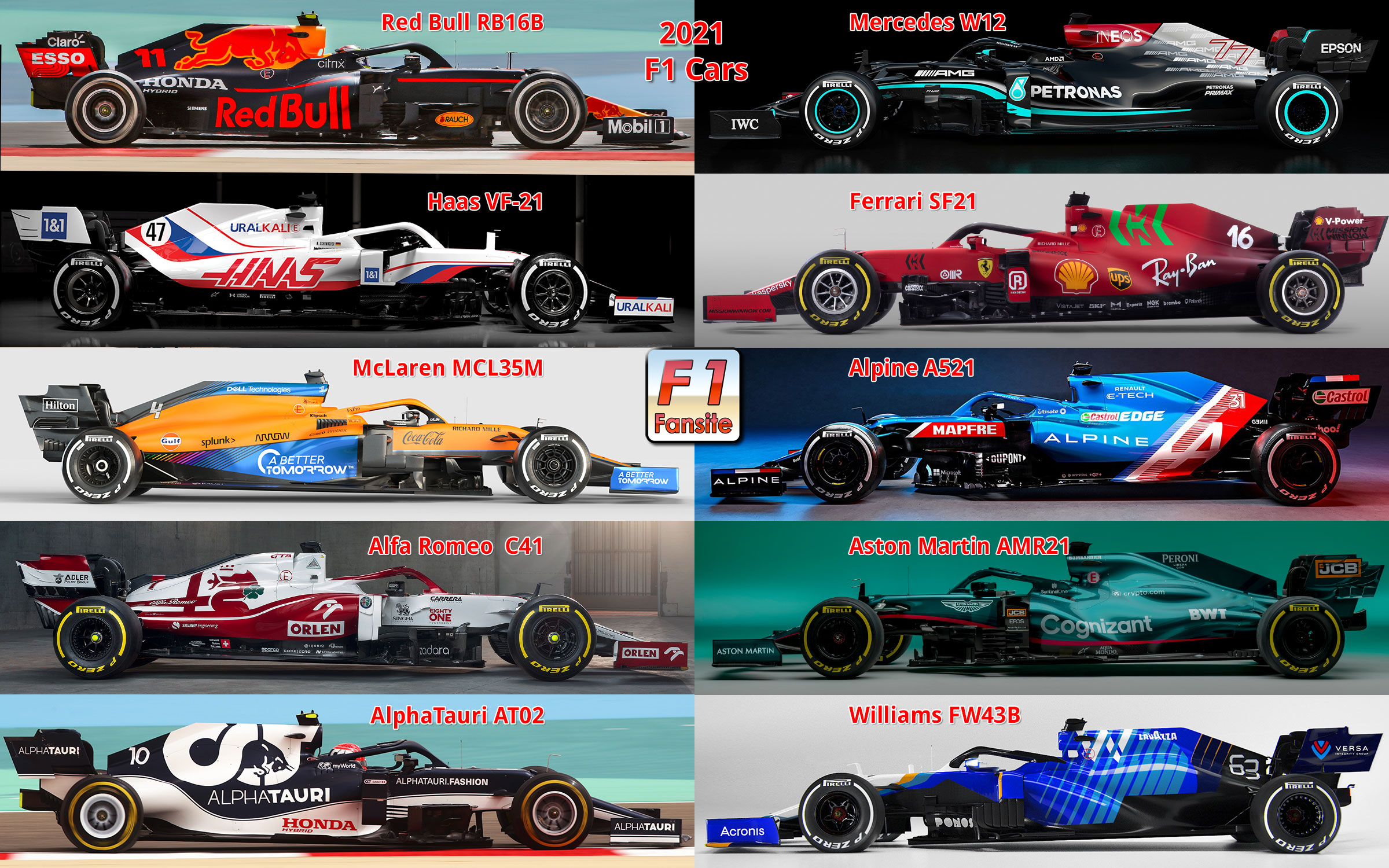 F1 Teams 2021 See All Constructors Drivers Cars Engines Info
