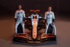 Norris & Ricciardo reveal their special Gulf-inspired helmets