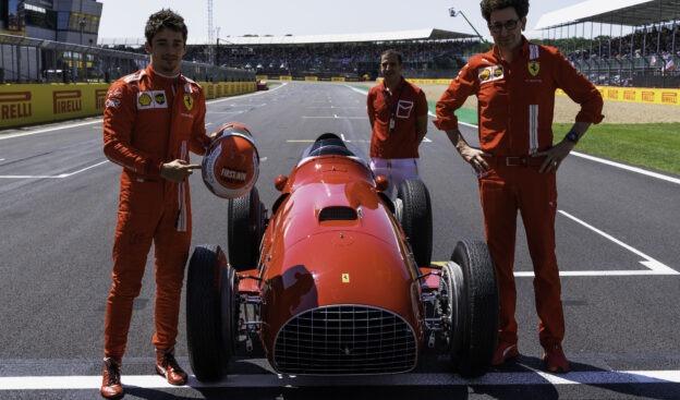 Leclerc takes a ride in the Ferrari 375 F1 around Silverstone