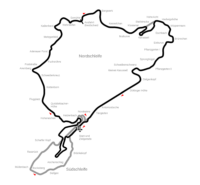 Nurburgring, Nordschleife, Sudschleife and F1 layout