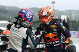 Pole position qualifier Max Verstappen congratulates second place qualifier George Russell ahead of the F1 Grand Prix of Belgium at Circuit de Spa-Francorchamps